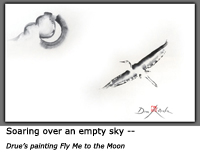 Drue's Sumi-e painting of a crane soaring high