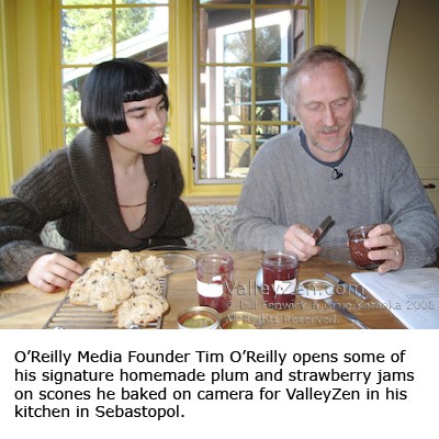 Tim O'Reilly shows Drue Kataoka his scone recipe