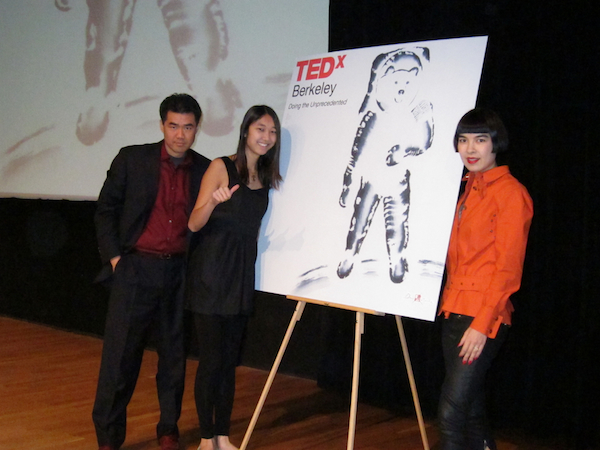 Kai Chang, Jessica Mah and Drue Kataoka in front of Drue's painting